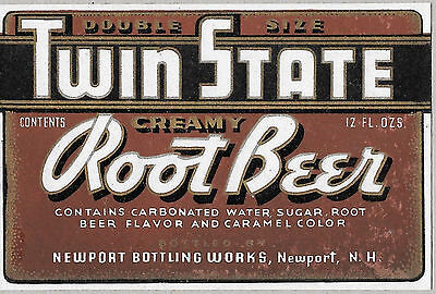 1940's Twin State Creamy Root Beer Bottle Label - NOS Newport NH