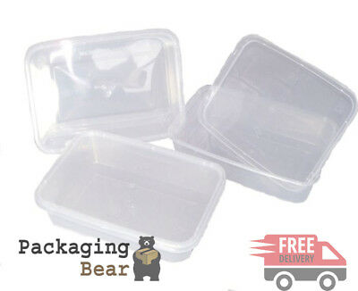 150 x PLASTIC 500ml MICROWAVE FOOD TAKEAWAY CONTAINERS | FREE 24HR P&P
