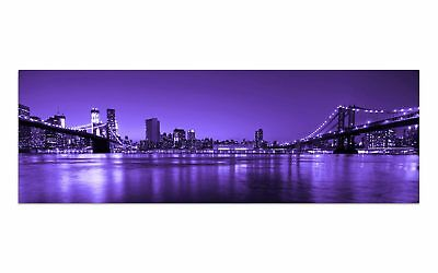 Deco Glasbild AG9-279/ 90x30cm BROOKLYN BRIDGE LILA DESIGN Wandbild
