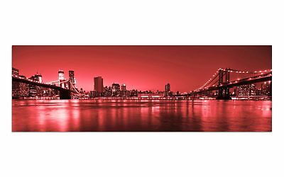 Deco Glasbild AG9-281/ 90x30cm BROOKLYN BRIDGE ROT DESIGN Wandbild