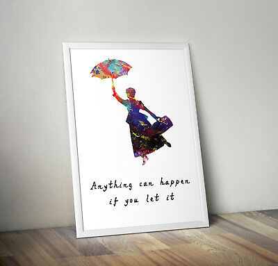 Disney inspired mary poppins poster print wall art gift decor merchandise