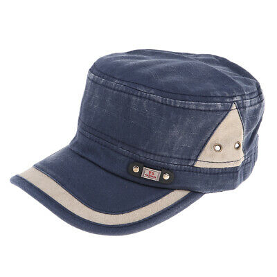 Unisex Military Navy Sailor Flat Top Hat Women Men Army Leather Cap One Size Hot