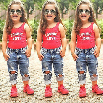 2PCS Toddler Kids Baby Girls Vest Tops+Denim Ripped Pants Jeans Clothes Outfits