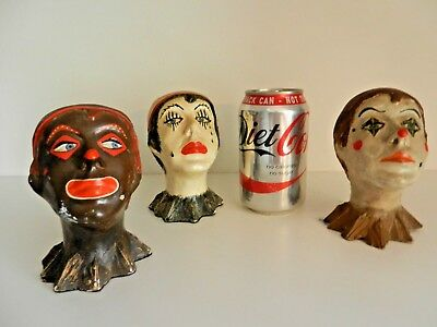 Vintage 1920s Small French Painted Plaster Busts, FOLK ART ,Unusual, Set of 3