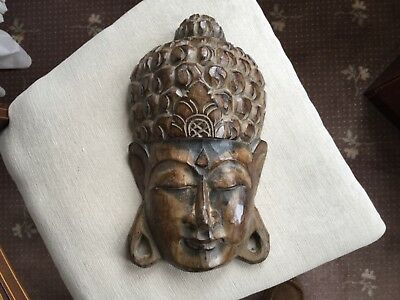 Carved Wooden Buddha Wall Mask
