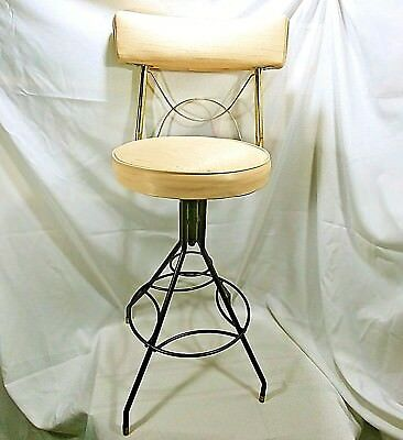 Mid Century Chair Vanity Swivel Bar Stool Bathroom Chair Tan And Gold Metal