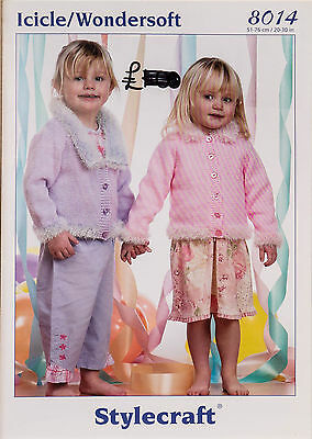 Stylecraft Knitting Pattern 8014 Girls Cardigans Icicle Wondersoft DK 20-30""