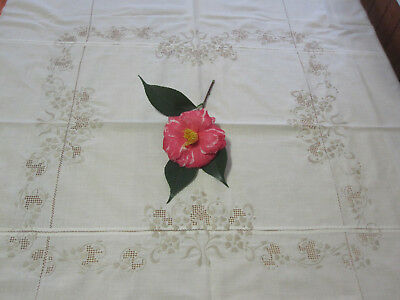 Vintage embroidered tablecloth ecru needlework with napkins