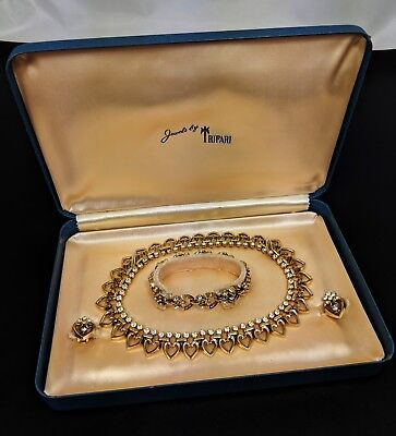 Trifari Heart Rhinestone Set Queen of Hearts Demi Parure with Original box