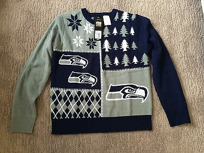Seattle Seahawks Christmas Holiday Ugly Sweater Youth Large Size 14 Official NFL