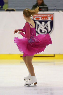 Deep Pink Ice Skating Dress AB Crystals: Crepe & Georgette Ice Dance Competition