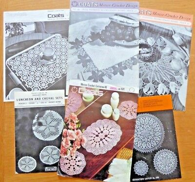 BUNDLE JOB LOT of 6 VINTAGE CROCHET PATTERNS TABLE MATS DOILY TRAY CLOTH CHEVAL