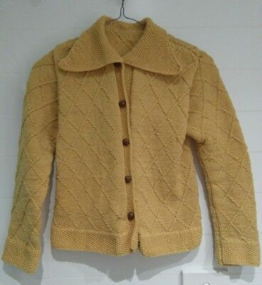 Vintage mustard yellow cable knit cardigan sz S FREE POSTAGE