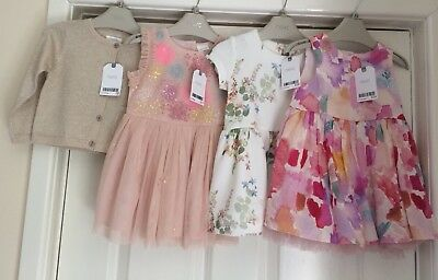 Girls Next 3 Dresses And Cardigan 9-12 Months All Bnwt Rrp £64 This Season