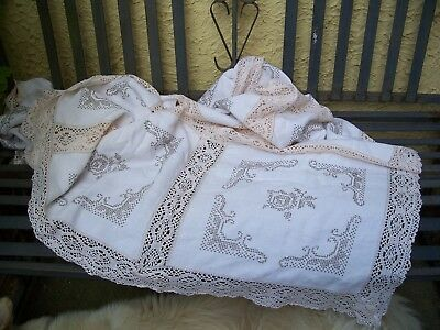 Lovely Large  Vintage tablecloth cut out and lace insert work