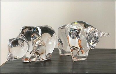 """Bull and Bear 24 % Lead Crystal from Germany, 4"""" x 3"""" , perfect condition"""