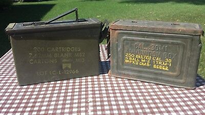 Lot Of 2 Military Empty Ammo Metal Boxes 30 M1 Flaming Bomb & 7.62mm M13 M82