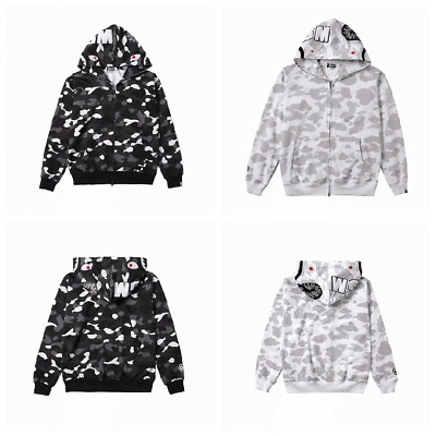 d81901fd2ad6 Japan Bathing Ape Bape Jacket Men Shark Head FULL ZIP HOODIE Sweater Jacket  New