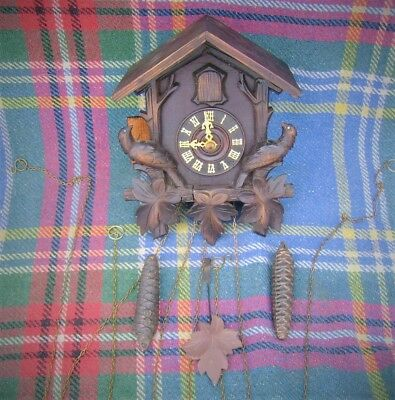 Vintage Black Forrest Cuckoo Clock Twin Pine Cone Wieghts And Chains ..Original.