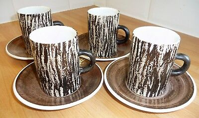 4X Cinque Ports Pottery Ltd The Monestary Rye Coffee Can Cup Saucer Brown Bark