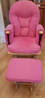 Pink Nursing Maternity gliding rocking chair with matching footstool
