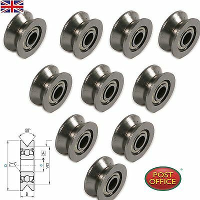 10pcs VGroved Wire Guide Pulley Wheels Roller 4mm High Carbon Steel Ball Bearing