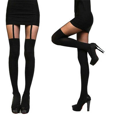 Fashion Women Girl Temptation Sheer Mock Suspender Tights Pantyhose StockingFLHX