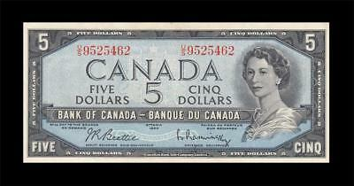 1954 BANK OF CANADA QEII $5 **Beattie & Rasminsky** (( GEM UNC ))