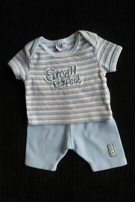 Baby clothes BOY newborn 0-1m outfit SS t-shirt/trousers blues/orange SEE SHOP!