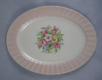 Edwin Knowles Small Platter Pink Fluted Rim Floral Spray Cottage Shabby Vintage