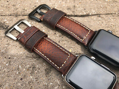 For Apple Watch 4 3 38/40/42/44mm Calfskin Litchi Leather Wristband Watch Strap