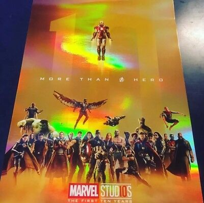 Marvel Studios Poster : The First Ten Year More Than A Hero Gold Foil Print
