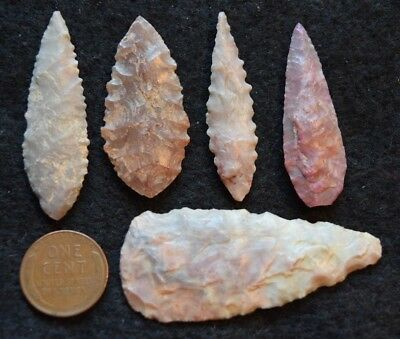 5  nice Sahara Neolithic ovate points/blades, with some color & serrations