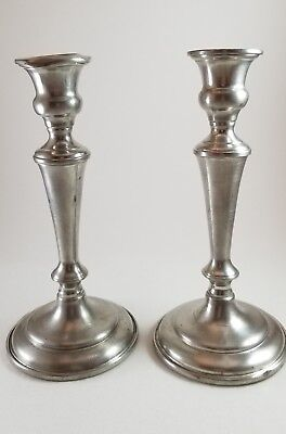Pair of Vintage/Antique Empire Pewter Weighted Candleholders/sticks Marked 838