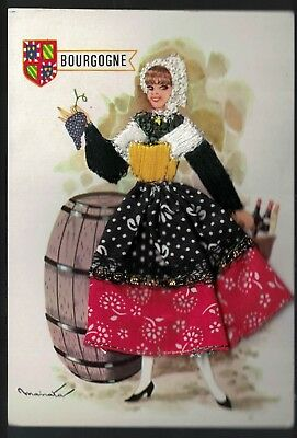 Vintage French Novelty Silk and Material Postcard Costume of Bourgogne Fashion
