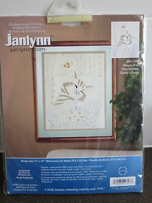 "Janlynn Candlewicking Embroidery Kit - Sleeping Kitty  1"" x 14"""