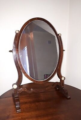 A Beautiful Antique Oval Swing Mirror With Box Stringing Very Decorativ