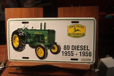 John Deere Metal License Plate 80 Diesel 1955-1956