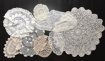 Job Lot 8 Vintage Hand Crocheted Cotton Lace Doilies / Table Mats