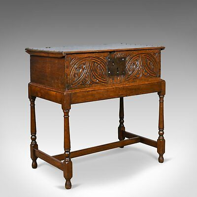 Antique Bible Box on Stand, English, Oak, Chest, 17th Century & Later