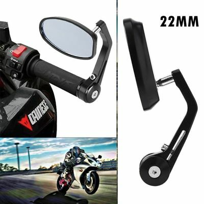 """7/8"""" 22mm Universal Motorcycle Handle Bar End Rear Side View Mirrors Cafe Racer"""