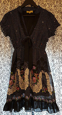 "Beautiful Vintage Style Floral and Polka Dot Tea Dress 'Mela"" sz 12, 14 or 16"