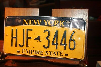 2010 New York Empire State License Plate HJF 3446 (B) BENT