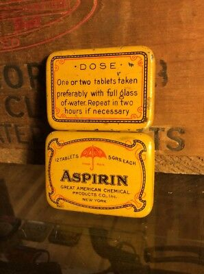 Vintage Aspirin Tin Can Medicine Great American Chemical New York Advertising