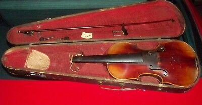Antique Violin Labeled: Jacobus Stainer wood case - for Parts or Restoration