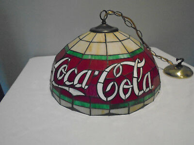 Vintage Coca Cola Table Stained Glass Accent Chandelier / Hanging Lamp