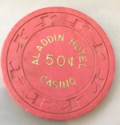 $.50 cent ALADDIN Las Vegas NV Pink / Rose Casino Poker Chip (SU)  Slightly Used