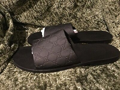 734e25a63b8e Gucci Black Slides Flip Flops Sandals Leather Lining Mens Shoes 10 E 124441