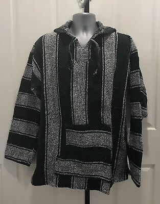 Hand Made Guatemalan Sweater Poncho, Green/Black/White