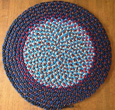 "Vtg Hand Braided 26"" Dia Round Rag Rug Wool? Primitive Country Red Blue Navy"